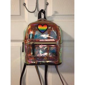Iridescent Rainbow Heart Mini Backpack